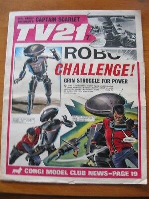 TV 21 from 1968 ROBOT CHALLENGE -large piece missing from cover ,writing on rear