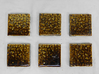 Six - Antique TRENT 3 x 3 Fireplace Hearth Tiles - C. 1885 Architectural Salvage