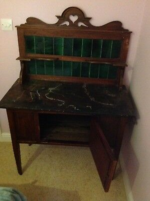 victorian wash stand green tiles black marble top original