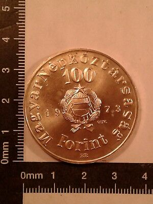 1973-Bp 100 Forint Silver Coin Hungary Commemorative Bu Mintage: 24,000 Km-600 *