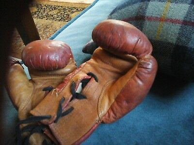 Vintage Leather Small 2oz Boxing Gloves 1950's  60s