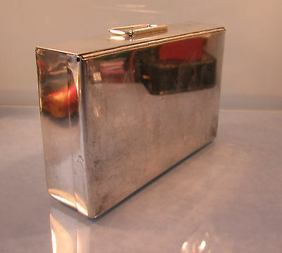 Art deco period Silver plated sandwich box with gold gilt interior circa 1930