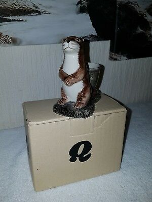 Quail Standing Otter Ceramic Egg Cup with box