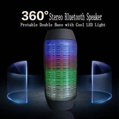 Wireless Bluetooth PULSE Lautsprecher LED Speaker Sound Box Radio SD USB Blau
