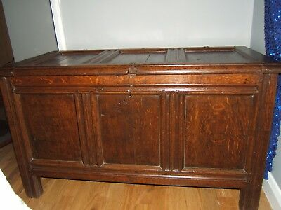 Antique panelled large solid oak coffer