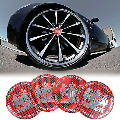 4x JP Junction Produce Wheel Center Hub Cap Emblem Badge Sticker Decal Red New