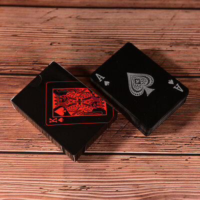 Waterproof Black Plastic Playing Cards Collection Poker Cards Board Games、