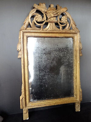 Mirror D Time 18Th # Wooden Golden Carved With Beading And Quiver (C717)
