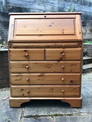 Ducal Victoria Solid Pine Bureau with Five Drawers, Writing Desk and Pen Tray