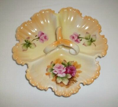 Vintage Lefton China Japan Hand Painted Roses 3 Part Candy Dish - MINT!