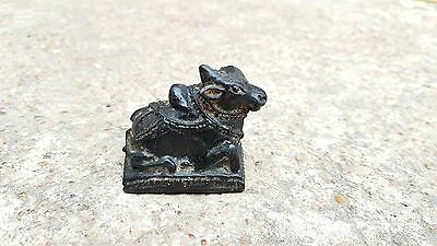 1850's ANTIQUE HAND MADE BLACK STONE  LORD SHIVA's NANDI STATUE / FIGURE
