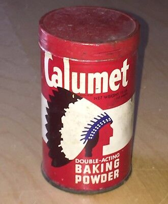 Antique Calumet 1/2 lb Baking Powder Tin Can Vintage Kitchen