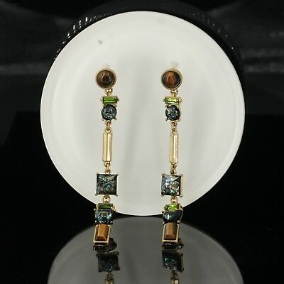 Earring Stud Golden Black Brown Green Crystal Long Fine Pendant Vintage X21