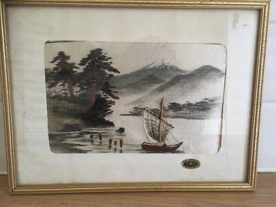 Vintage Oriental HAND EMBROIDERED SILK THREAD PICTURE Possibly MT. FUJI JAPAN