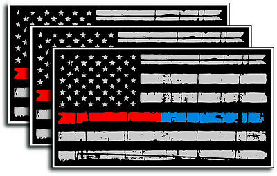 3 Thin Blue Red Line Subdued Tattered American Flag decal sticker Police Officer