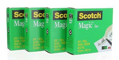4 XL Rolls, Scotch Magic Tape 810 Refill (3/4 in X 1500 in) Jumbo Rolls