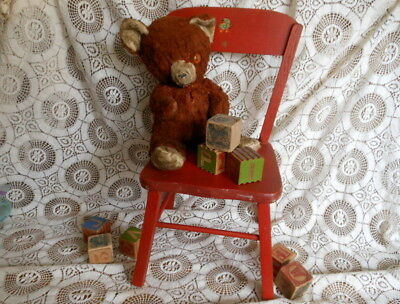 Vintage Red Doll Childs Chair Carl Bissman Original Paint Decal Wooden Christmas