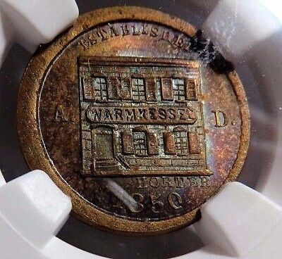 """NEW YORK'S """" PETER WARMKESSEL """" GREAT OBVERSE TONING  - 630BZ-3a - NGC MS-64 -NR"""