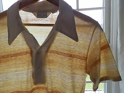 Vtg 70s Mister Man Striped Slim Fit Thin Retro Mod Surf Skate Polo Shirt S M