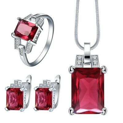 PlatinumPlatedRed Cubic Zircon Crystal Necklace Earring and Ring Jewellery Set