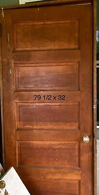 "Antique Solid Wood 5 Panel Door from House Measures 80"" x 32"""