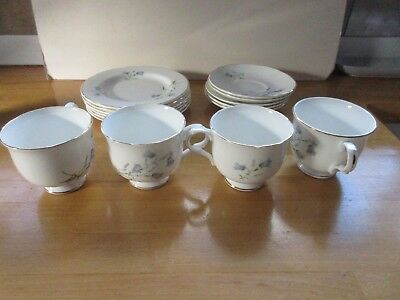 "SADLER / WELLINGTON "" HAREBELL "" Pastel Blue Harebells TEA Trio 15 pieces"