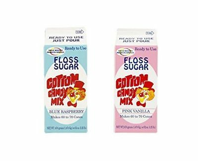 Perfect Stix Floss Sugar Blue Raspberry-Pink Vanilla-2 Cotton Candy Floss... NEW