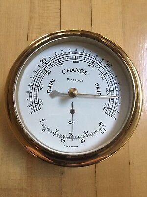 Watrous Brass Ships  Barometer and Temperature Gauge Made in Germany Very Rare !