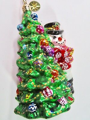 CHRISTOPHER RADKO glass christmas ornament Snowman with Arms Around the Tree