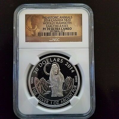 2014 Canada 1 oz Proof Silver $20 The Woolly Mammoth NGC PF70 ER