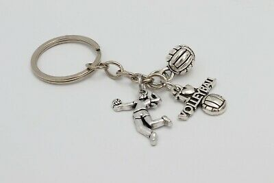 VOLLEYBALL PLAYER BALL SPORTS Silver Metal Charm Keychain Key Ring Unique Gift