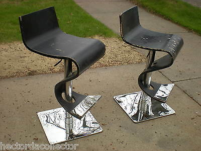 Vintage Retro Mid Century Modern Ribbon Chair Chrome Swivel Plywood Steampunk