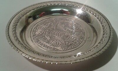 Small Circular Egyptian Silver Repousse Design Dish. 6.5 cms. in  diameter.