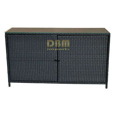 """59""""x18"""" All Weather Wicker Serving Buffet Table Bar Counter Pool Towel Storage"""