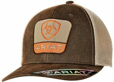 53af99a2204 Ariat Western Mens Hat Baseball Cap Logo Patch Mesh Back Brown 1516702