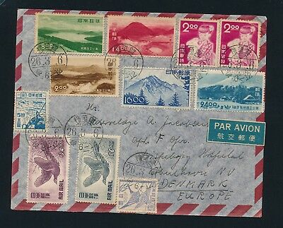 Japan. Colorful airmail COVER to Denmark