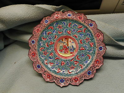 Antique Chinese Enamel Dish With Central Door Seller Scene