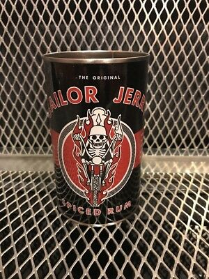 SAILOR JERRY SPICED RUM ~ NEW ~ Tattoo SKULL on Motorcycle 13 1/2oz Tin Can Cup
