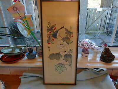 Ref 001 Vintage Signed Chinese Watercolour Bird In Flora