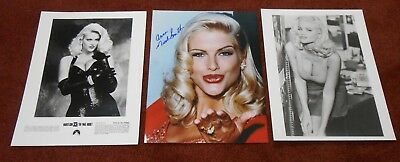ANNA NICOLE SMITH LOT OF 3 SEXY 8X10's- AUTOGRAPHED PHOTO, BUSTY CINEMA PHOTO