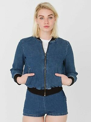 AMERICAN APPAREL Angeleino Denim Bomber Jacket LARGE