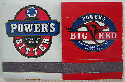 2 x POWER'S BEER MATCHBOOK BITTER AND BIG RED WITH ORIGINAL MATCHES EXCELLENT