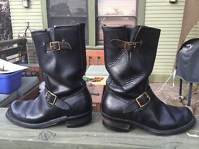 Vintage 1950s Engineer Motorcycle Boots Pair-A-Trooper Superb Toe Tracks RARE!
