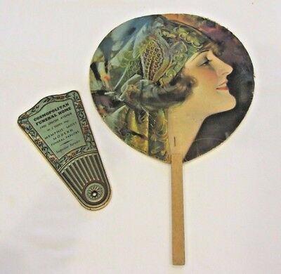 Two Vintage Advertising Funeral Home Church Hand Held Fans 1930's - 40's Memphis