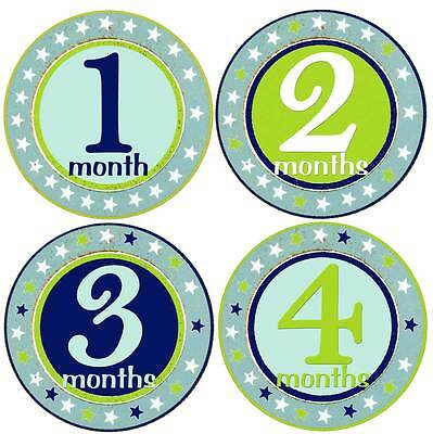 Baby Boy Month Stickers 1-12 Baby Age Stickers Blue & Green Stars Boys 1st year