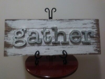 Wood & Metal GATHER Sign ~ White Distressed Farmhouse Letter Rustic Wall Decor