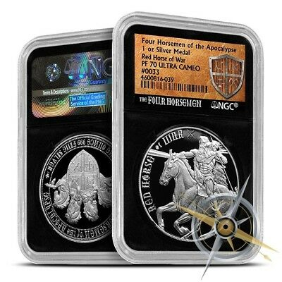 Four Horseman Of The Apocalypse Series - Red Horse Of War 1 oz Silver NGC PF70