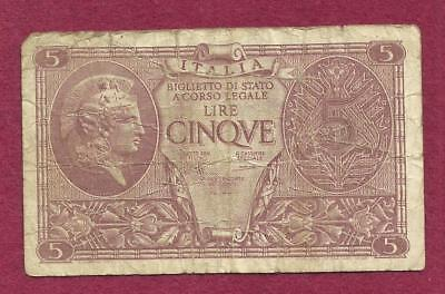 ITALY 5 lire 1944 Banknote 337864 - Historic WWII Currency!