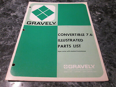 Gravely Tractor 7.6 Illustrated Parts List Book