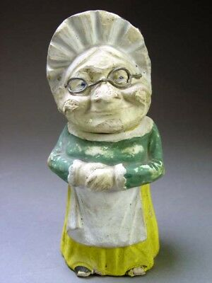 Antique Very RARE German Paper Mache Old Lady Grandma Spinster Candy Container
